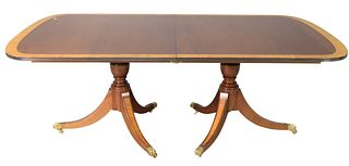 Custom Mahogany Dining Table, on double pedestal base, with banded inlaid top, along with two extra leaves, height 29 inches, length 80 inches, two le