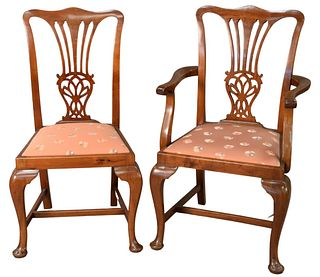 Set of Ten Queen Anne Style Mahogany Dining Chairs, with upholstered slip seats, seat height 42 1/2 inches.