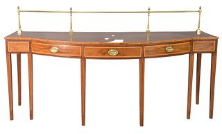 George IV Style Mahogany Sideboard, with brass rail, probably made up of old elements, height 36 inches, width 88 1/2 inches, depth 32 inches.