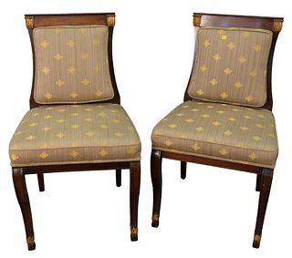 Pair of Mahogany Classical Style Side Chairs, with upholstered seats and backs, height 35 inches.
