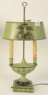 Louis XVI Style Green Painted Tole Bouillotte Lamp, having landscape scene on adjustable shade, along with stenciled details, over urn form two-light