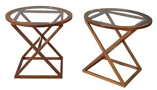 Pair Mahogany Glass Top Round End Tables, on X bases, height 26 inches, diameter 27 3/4 inches.
