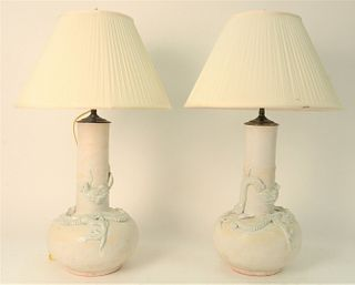 Three Chinese Table Lamps, to include pair of Chinese dragon vases, having moulded, white glazed dragons with three claws; along with blue and white p
