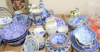 Eight Box Lots, to include 5 spatterware bowls; 5 Delftware urns; along with blue and white porcelain mugs.