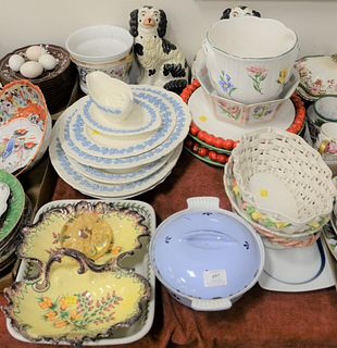 Large Grouping of Porcelain and China, to include Ironstone china; Wedgwood; cachepots; Staffordshire dogs; along with serving trays, etc.