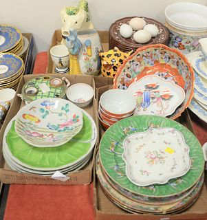 Three Tray Lots of Porcelain, to include Chinese porcelain plates; along with Japanese plates, bowl, cups, etc.