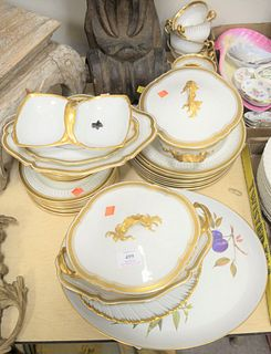 Porcelain Dinnerware Lot, to include 8 Royal Doulton dinner and dessert plates, 8 Royal Doulton saucers; 6 Royal Doulton tea cups; 2 Limoge covered se