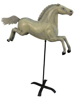 Metal Horse Figure on metal stand, late 20th C.