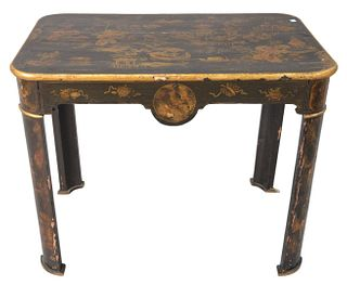 """Chinoiserie Black Lacquered Table, 18th or 19th Century, having gilt and paint decoration, with one drawer, on curved legs, height 28 inches, top 24"""""""