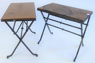 """Pair of Iron rectangle tables with cross stretcher base and leather tops, height 23 inches, top 15"""" x 25""""."""