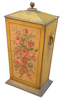 Victorian tole coal hod, painted yellow with flowers, height 27 inches, width 14 inches.