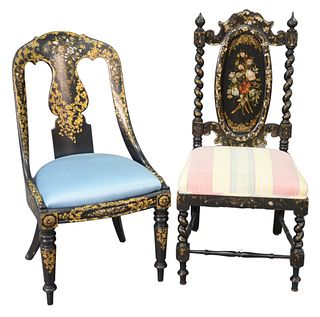 Two Victorian Black Lacquered Ladies Chairs, having mother of pearl inlay, and gilt decoration, upholstered seat cushion, seat height 16 inches.