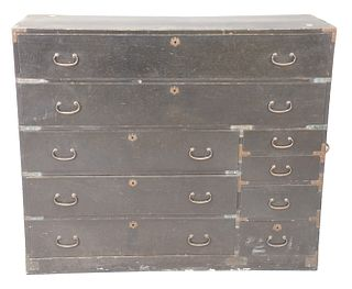 Black Painted Campaign Chest having four drawers and brass mounts; width 46 inches, height 39 inches.