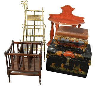 Seven Piece Lot, to include lucite cart, painted trunk, fire tools, canterberry, stool, etc, tallest height 29 inches.