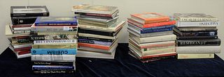 """Lot of Coffee table books, approximately 30, related to interior design and couture fashion, titles include, """"Oscar de la Renta,"""" """"Valentino,"""" """"Leonar"""