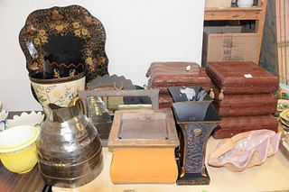 Large lot of assorted items to include: two carved wood tabourets, one mirror in a bronze frame, footed tole cache pots, one ceramic shelf, etc.