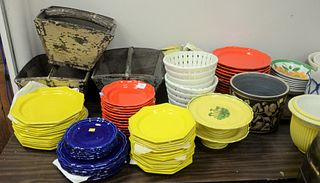 Large Table Lot, to include 13 red Baldelli salad plates; 12 red Baldelli dinner plates; 14 yellow Baldelli salad plates; 12 yellow Baldelli dinner pl
