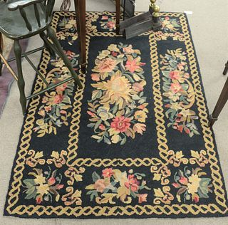 "Four Throw Rugs, to include 3 hooked; along with one Oriental rug, 5' x 6' 10"". Provenance: From the Robert Circiello Collection, West Hartford, Conne"