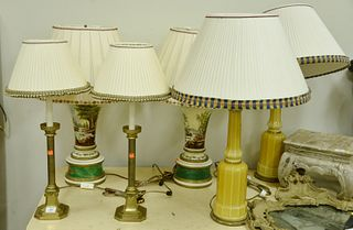 Six Piece Lot, to include three pairs of table lamps; one brass pair on neoclassical bases; one yellow glass pair on brass bases; along with a pair of