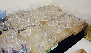 Six Tray Lots of Crystal, to include 6 oversized red wine glasses; 12 red wine; 11 white wine, in the same pattern; 4 goblets; along with 14 thick ste
