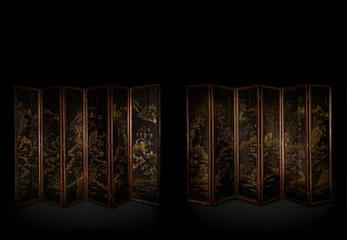 A Mother-of-Pearl Inlaid Black Lacquer Twelve-Panel Screen