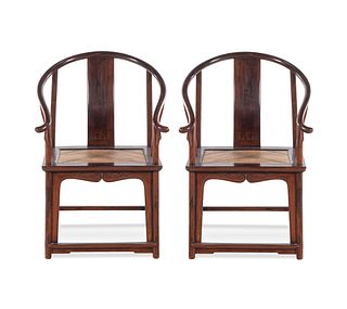A Pair of Rosewood Horseshoe-Back Armchairs, Quanyi