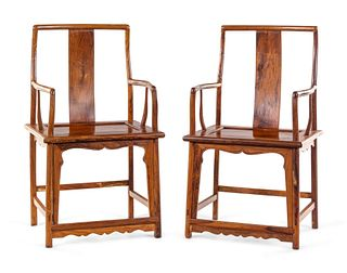 A Pair of Huanghuali Continuous-Back Arm Chairs, Nanguanmaoyi