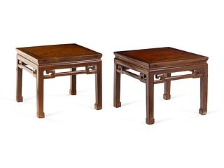 A Pair of Hardwood Square Waisted Corner-Leg Stools, Fangdeng
