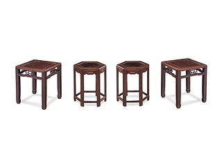 A Pair of Huanghuali Square Stools and Rosewood Hexagonal Stools