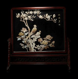 A Hardstone and Mother of Pearl Inlaid Table Screen