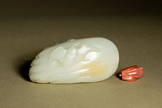 A White Jade 'Bat and Citron' Snuff Bottle