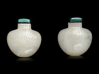 A Pair of White Jade Purse-Form Snuff Bottles
