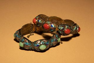 Two Inset and Enamel on Silver Bracelets