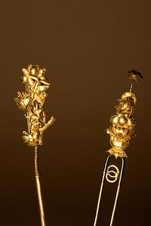 Two Gilt Metal Hair Pins