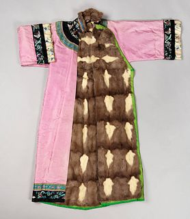 A Fur Lined and Embroidered Silk Ladies' Robe