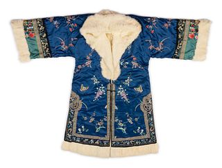 A Fur Lined Blue Ground Embroidered Silk Winter Coat