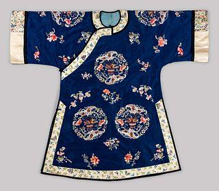 A Blue Ground Embroidered Silk Ladies' Robe