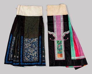 Two Embroidered Silk Apron Skirts