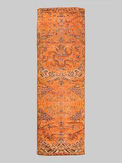 A Orange Ground Brocade Woven Silk 'Dragon' Panel