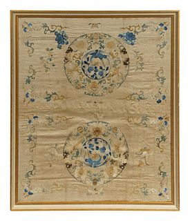 A Large Cream Ground Embroidered Silk Panel