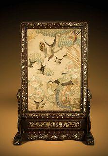 A Embroidered Silk Panel Inset Mother-of-Pearl Inlaid HongmuTable Screen