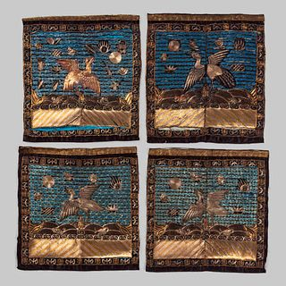 Four Embroidered Silk Rank Badges