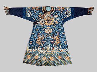 A Blue Ground Embroidered Silk Dragon Robe, Jifu
