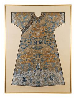 A Pale Brown Ground Embroidered Silk Dragon Robe, Jifu