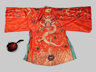 An Embroidered Silk Theatrical 'Dragon' Robe and an Official Hat