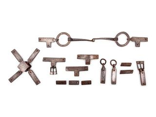 A Set of Iron and Silver Niello Bronze Horse Harness Fittings