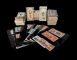 A Large Collection of 1322 Chinese Banknotes and Customs Gold Units