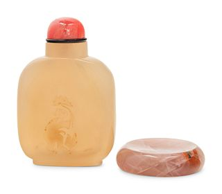 An Agate Snuff Bottle and An Agate Snuff Dish