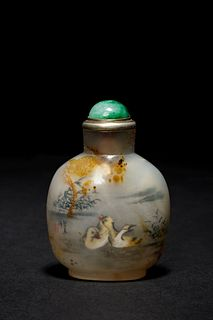 An Inside Painted Agate Snuff Bottle