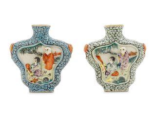 Two Molded Famille Rose Porcelain Snuff Bottles